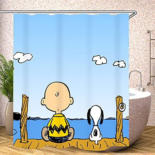 SMNVCKJ Snoopy Duschvorhang Textil 120x200 180x200180x180 200x240 Bunt Pink Blau,3D-Druck 100prozent Polyester,Shower CurtainsWasserdicht (1,120 × 200CM)