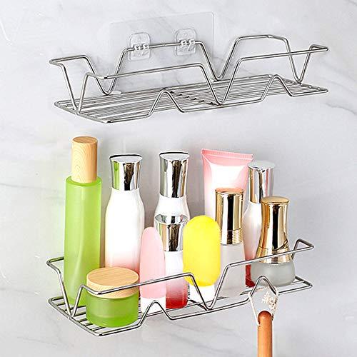 Ashiner - Estante de baño con ganchos autoadhesivos para especias de cocina, de acero inoxidable, estantería de almacenamiento para baño sin taladrar