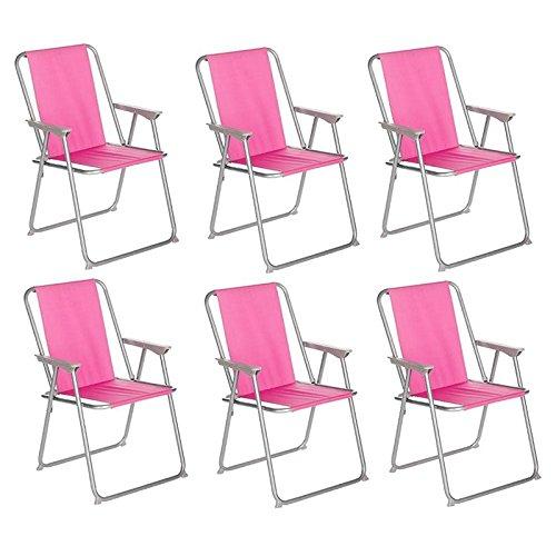 Paris Prix Côté Détente - Lot de 6 Chaises de Camping Pliantes Grecia 74cm Rose