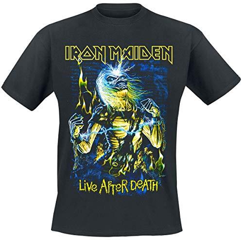 Iron Maiden Live After Death Hombre Camiseta Negro S, 100% algodón, Regular