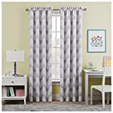 WAVERLY Kids Room Darkening Curtains for Bedroom - Airwaves 42' x 84' Thermal Insulated Single Panel Rod Pocket Light Blocking Privacy Curtains for Nursery, Grey