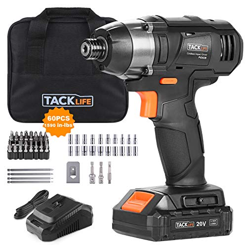 TACKLIFE 20V MAX Cordless Impact Driver 180Nm 60 Pcs Accessories 20Ah Liion Battery amp 1 Hour Fast Charger 1/4quot AllMetal Hex Chuck 02800RPM  PID02B