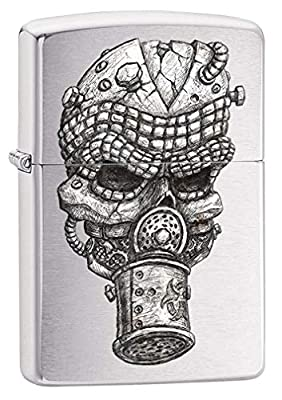 Zippo Lighter: Skull and Gas Mask - Brushed Chrome 80214 by Zippo
