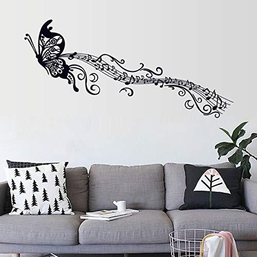 YLLW Black Music-Schmetterlings-Wand-Dekor-Stave Note-Wand-Aufkleber DIY Wandaufkleber selbstklebendes Vinyl, Hauptdekoration for Kinderzimmer Removable Kunst-Wandaufkleber