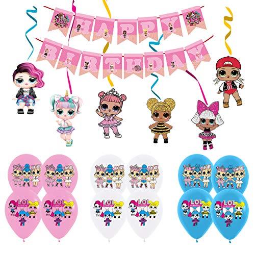 Lol Cumpleaños Decoracion Lol Globos Pancarta de Feliz Cumpleaños de Lol Surprise Muñeca de Remolinos Colgantes Decoraciones de Fiesta