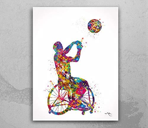 1953 Rollstuhl-Basketballspieler mit Wasserfarben-Druck, Männergeschenk, Wandkunst, Kindergeschenk, Handball, Behinderung