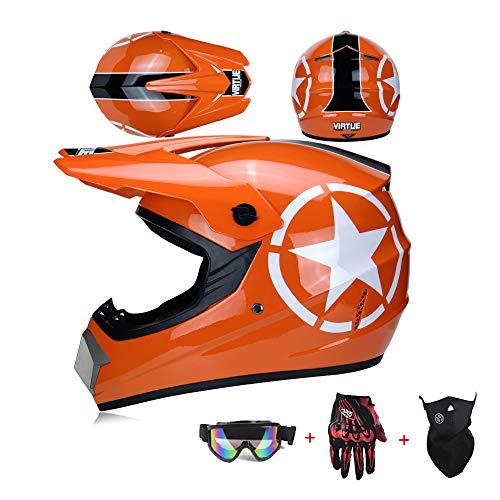 XIAMI Casco de Motocross ATV para Hombres Mujeres Protección de Seguridad Motocicleta Unisex con Gafas, Guantes, Máscara, Casco de Scooter de Cara Completa, Certificación Dot, Talla S-XL,M