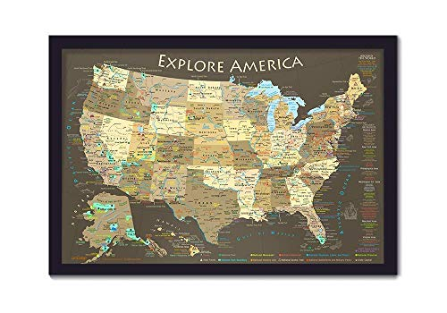 Explore America USA Map with National Parks, Landmarks, Highest Peak by State - Framed Push Pin Map and includes 100 Map Pins
