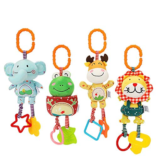 4 unids cochecito cochecito de dibujos animados cochecito bebé juguetes colgantes, suave sonajeros juguetes para bebés para 3 6 9 12 meses niños y niñas