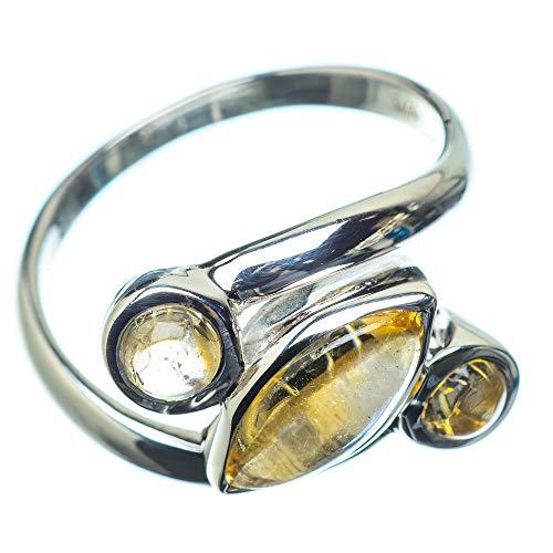 Citrine, Citrin 925 Sterling Silber Ring 7.5