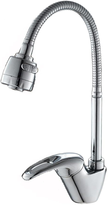 FGDJTYYJ Küche Waschbecken Wasserhahn 360 Grad Drehen Kupfer Mischbatterie Kalt und hei Einloch Wasserhahn