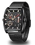Mini Focus Mens Watches Sport Waterproof Analog Quartz Watch Men Fashion Skeleton Blue Stainless Steel Mesh Wristwatch