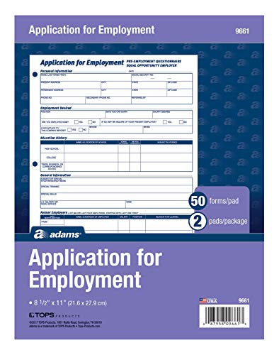 Adams Bilingual Employee Application, 8.5 x 11 Inches, White, 2-Pack (9661ES)