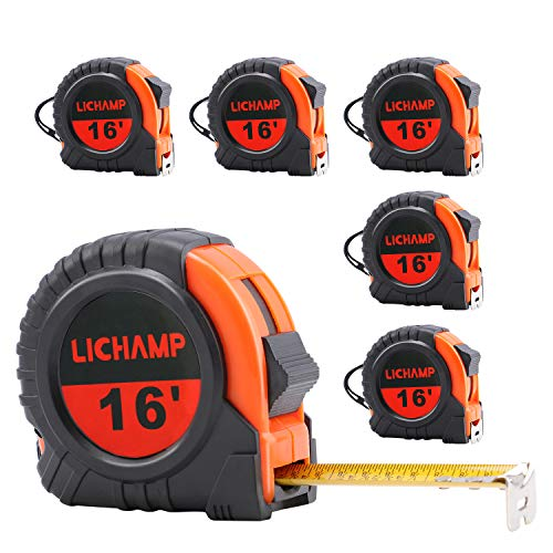 LICHAMP Tape Measure 16 ft, 6 Pack Bulk Easy Read Measuring Tape Retractable with Fractions 1/8, Measurement Tape 16-Foot by 3/4-Inch