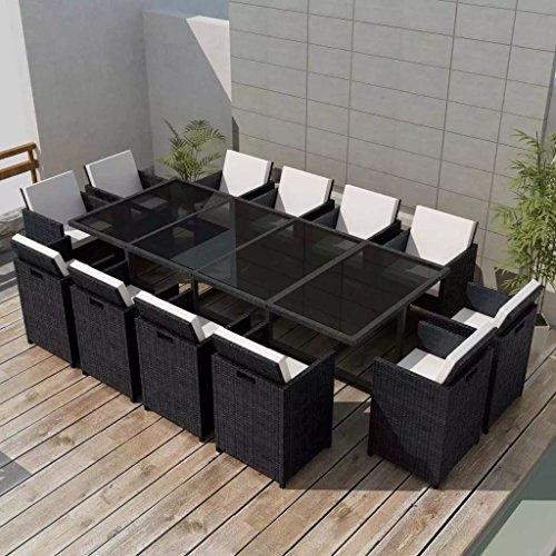 Tidyard 37-teilig Gartengarnitur Set Garten Essgruppe | Polyrattan Gartengruppe Sitzgarnitur | PE-Rattan Gartenmöbel inkl. 1 Tisch mit Glas-Tischplatte, 12 Stühle und 24 Kissen - Schwarz