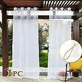 PONY DANCE Gardinen Transparent Weiß - Voile Vorhang mit 1 Raffhalter Stores Gardinen Outdoor Vorhänge für Balkon/Terrasse Ösenschal, 1 Stück H 243 x B 137 cm