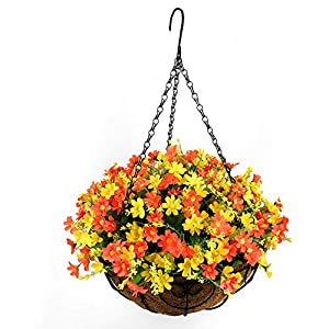 Homsunny Artificial Hanging Flower Centerpieces, Hanging Flowers Basket, Artificial Daisies Flowers in Coconut Lining Hanging Baskets for The Decoration of Courtyard, Outdoors, and Indoors (Orange)