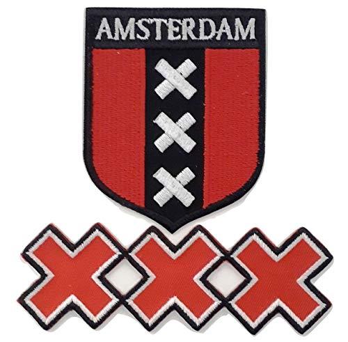 b2see Iron On Bügel Aufnäher Patches Flicken DIY Näh Motive Flagge Wappen Holland Niederlande Amsterdam für Textilien