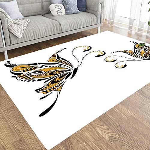 Liz Carter 36X24in Area Rug Door Mat Durable Carpet Absorbs Water Floor Mat Butterfly African Totem Tattoo