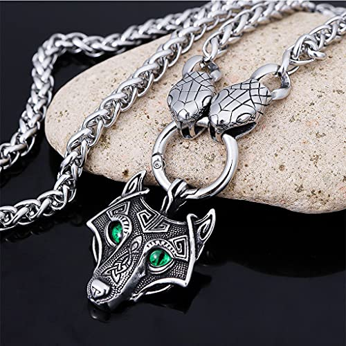 Colgante de Cabeza Lobo Celta Ojos Verdes Collar Serpiente Acero Inoxidable para Hombre Joyería Amuleto Vikingo Nórdico Fenrir con Cadena Ouroboros 8 mm,60cm Chain