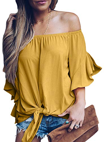 Asvivid Womens Cute Solid Off The Shoulder Tops Flare Bell Sleeve Loose T-Shirt Club Shirt Party Summer Blouses XL Yellow