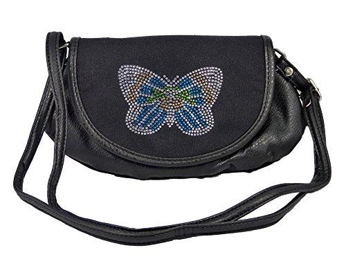 yourlifeyourstyle Süße kleine Umhängetasche mit Schmetterling aus bunten kleinen Steinchen - glitzernd - Damen Mädchen Teenager Tasche (schwarz)