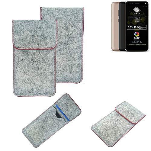 K-S-Trade® Handy Schutz Hülle Für Allview A9 Plus Schutzhülle Handyhülle Filztasche Pouch Tasche Hülle Sleeve Filzhülle Hellgrau Roter Rand