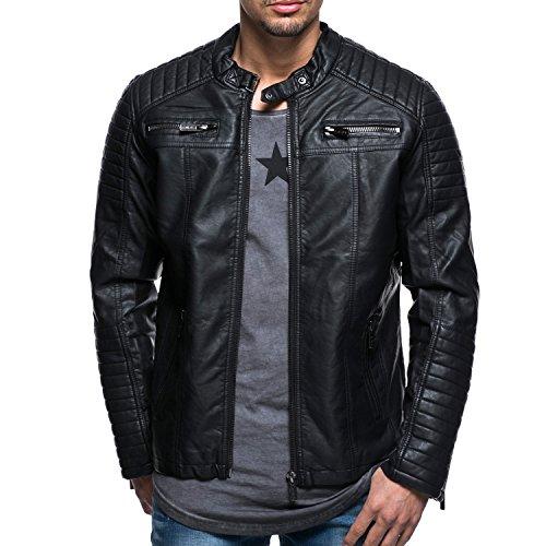 BIKER JACKE KUNST - HERREN LEDERJACKE MOTORRADJACKE BIKERJACKE Black SCHWARZ MOTORRAD Designer Sweat Jacke men leather jacket Deep black slim fit NEU New (XXL, Schwarz)