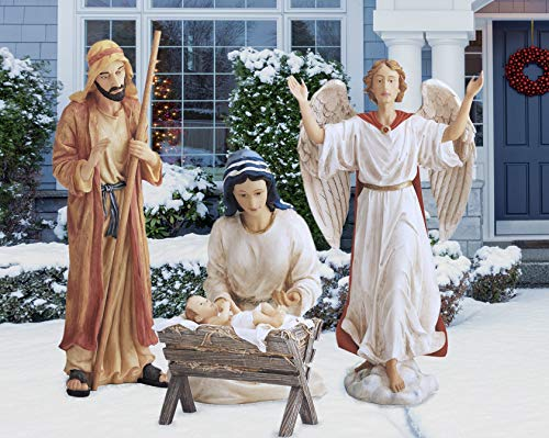 THREE KINGS GIFTS THE ORIGINAL GIFTS OF CHRISTMAS Holy Family Angel Outdoor Vibrant 48 inch Metal Holiday Yard Nativity 4 Piece Set