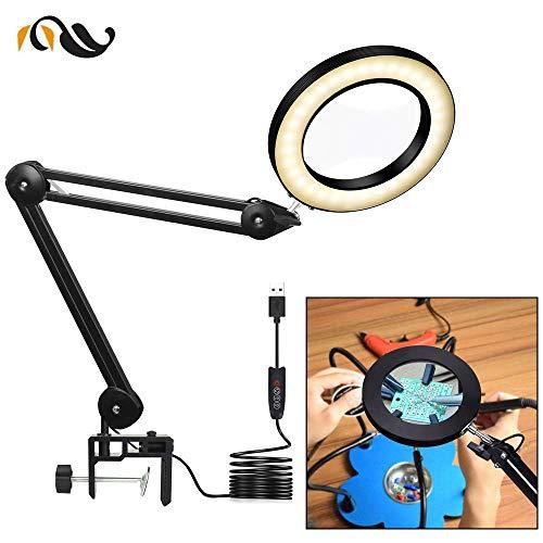 Pkfinrd Dinst USB 5 x LED glas opvouwbaar loep verlichting tafellamp sieraden vergrootglas derde hand verlicht glas vergrootglas