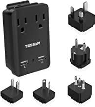 2000W World Travel Adapter Kit, TESSAN International Power Adapter with 2 AC Outlets 2 USB Ports, Universal European Outlet Plug Adaptor for UK, Ireland, France, Italy, Germany, Japan and More