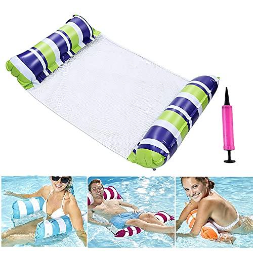 Uppblåsbar vattenhängmatta, luftmadrass pool uppblåsbar hängmatta, vikbar flytande säng 4-i-1 loungefåtölj pool lounge, vattenhängsmatta säng soffa för vuxna, mörkblå gul ränder