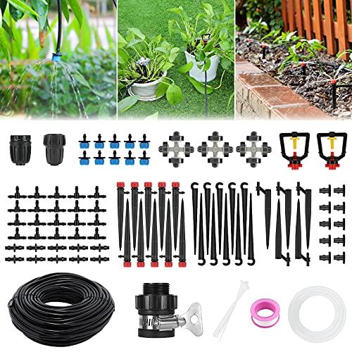 Kits de riego por goteo, sistema de riego de jardín Fixget 43 / 141ft con sistema de riego automático ajustable, sistema de riego de plantas de bricolaje para ahorrar agua, enfriamiento por neblina del jardín, invernadero, patio, césped