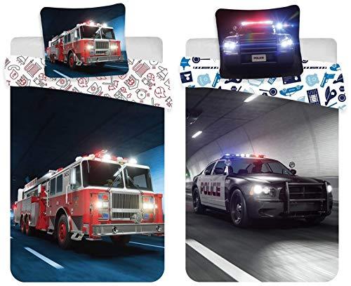rainbowFUN.de Feuerwehr & Polizei 2 x Wende-Bettwäsche-Set 135x200 Baumwolle Jungen Kinderbettwäsche
