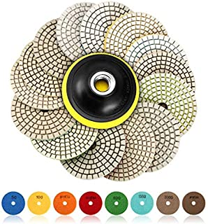 SPTA 15pcs Diamond Wet Polishing Pads Set, 4 inch Pads for Granite Stone Concrete Marble Floor Grinder or Polisher, 50#-6000# with Hook & Loop Backing Holder Pads for Wet Polisher