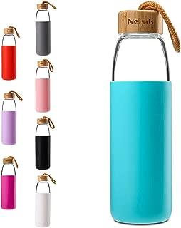 NERUB 18 to 22 OZ BPA Free Borosilicate Thick Glass Water Bottle with Bamboo Lid - Dishwasher Safe