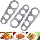 Ylinwtech 3 Pezzi Misuratore per Spaghetti,Dosatore per Spaghetti in Acciaio,per Misurare la Pasta Lunga,Utensile da Cucina,Spaghetti,con 4 Fori di Misurazione,per 1-4 Persone(Argento)