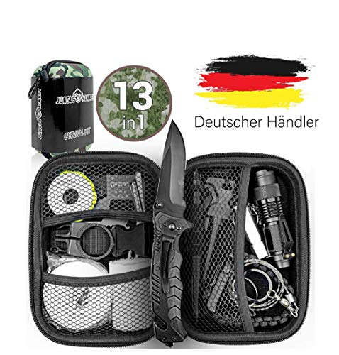 Jungle Monkey Premium Survival Kit [13er Set] - Mit hochwertigem Messer - Inklusive...