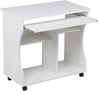 Yaheetech Bureau Informatique Blanc pour Ordinateur à roulettes avec Grand Support Clavier Coulissant/4 étagères en Bois
