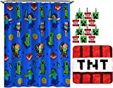 Jay Franco Minecraft Creeper TNT 14 Piece Bathroom Set - Includes Shower Curtain, 12 Hooks, & Non-Slip Bath Rug - Easy Care Fabric (Official Minecraft Product)