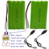 Blomiky 2 Pack 9.6V 700mAH Ni-Cd AA Battery Pack with Mini Tamiya Connector Plug and Charger Cable for 15MPH RC Truck D181 New Battery 2