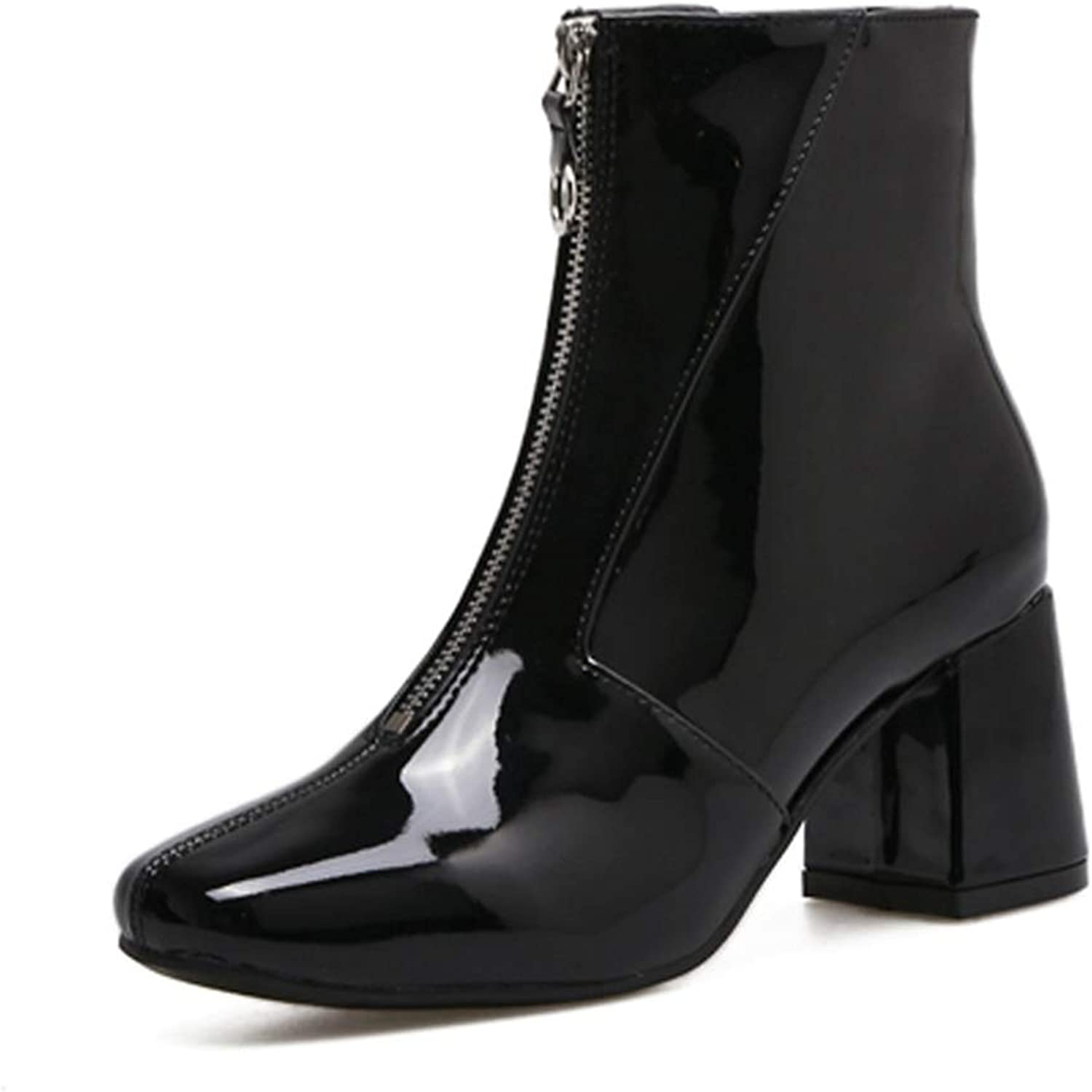 PU Ankle Boots for Women Patent Leather Round Toe Square Heels Front Zipper Chelsea Bootie