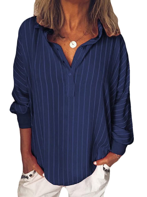 Abetteric Women's Pinstripe Dolman Top Casual Trendy Button Long-Sleeve T-Shirts