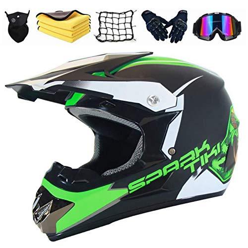 XIAOL Kinder Motorrad-Helm Motorradhelm Enduro MTB Dirt Bike Mountainbike Helm Downhill Schutzhelm Fullface Helme mit Brille/Handschuhe/Maske/Motorrad netz/Korallenvlies Handtuch (M 54-55CM)