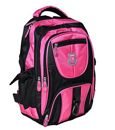 NEW BERRY Rucksack für Schule, Sport, Freizeit mit viele Fächern (Laptopfach) (pink/schwarz)