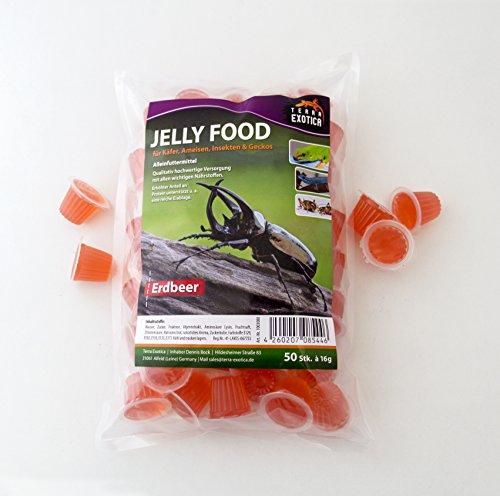 Terra Exotica Jelly Food - Erdbeere 50 Stück im Beutel, Fruitjelly, Beetlejelly - 50 x je 16g