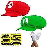 Super Mario Gorra Luigi - Conjunto de Disfraces para Adultos y niños + 2X Guantes y 6X Barba pegajosa Carnival & Cosplay - Classic Cappy Cap