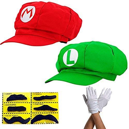 thematys Super Mario Mütze 2er Set Luigi + Mario - Kostüm-Set für Erwachsene + 2X Handschuhe und 6X Klebe-Bart - perfekt für Fasching, Karneval & Cosplay - Klassische Cappy Cap