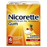 Nicorette Stop Smoking Aid, 4 mg, Gum, Fruit Chill 100 pieces