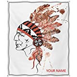 Feather Bed Blanket, Artistic Portrait Native American Tribe Chief with Traditional Headdress DIY Blanket, for Adults and Teens, Redwood Brown Black W40 by L50(to Figure Custom)